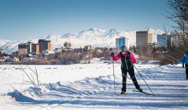 7cefb054c90 Skiers on the Coastal Trail near downtown Anchorage.