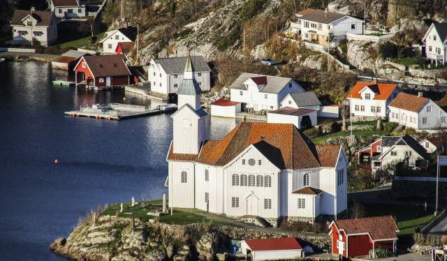 Church on Island of Hidra Flekkefjord Norway