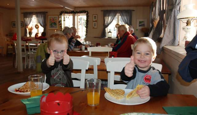 Boys eating waffles at restaurant