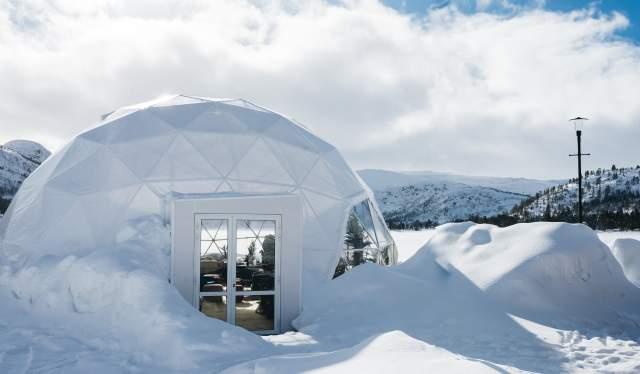 The Village geodome Hovden winter