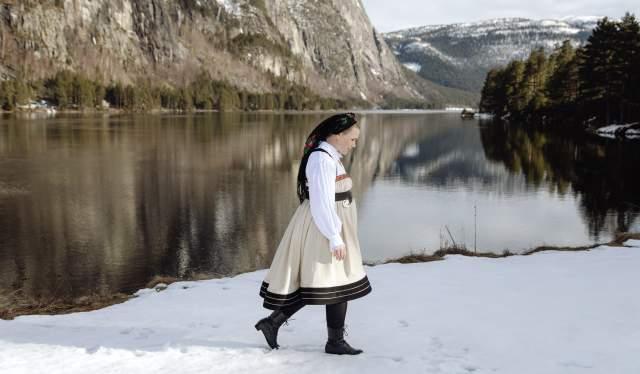 Sigrid Bjørgulvsdotter Berg in national costume bunad from Setesdal southernmost Norway