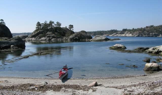 Kajakk på Skauerøya i Lillesand