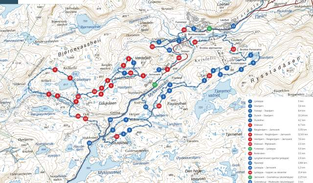 Trail map Brokke, Setesdal