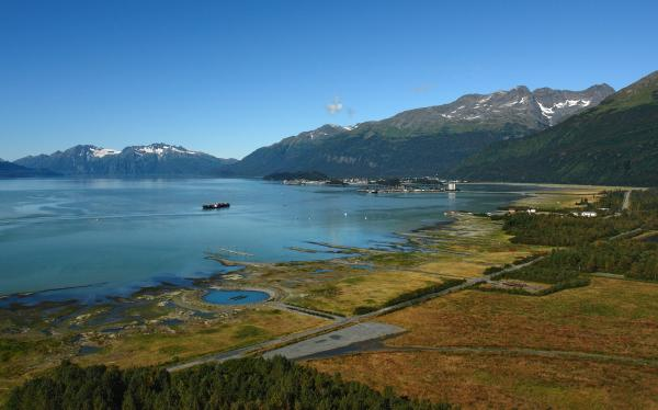 The original Valdez townsite seen from above