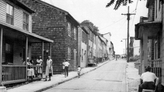 A black and white photo of a predominantly black neighborhood in Annapolis.