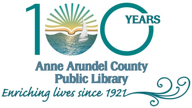 100 years logo for Anne Arundel County Public Library.