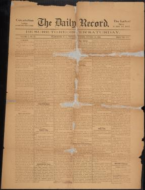 "CF Museum - page from ""The Daily Record"" 10/20/1898"