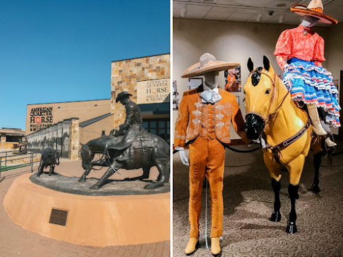 collage of photos of the American Quarter horse museum. exterior photo on the left and interior photo of western wear exhibit on the right