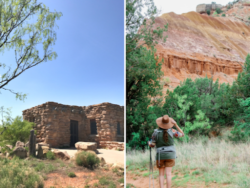 Palo Duro Cabins Collage - photo of Cabin on left and photo of woman hiking on right