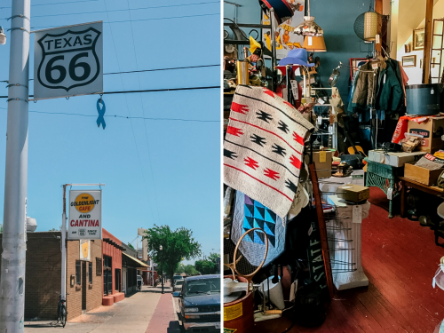 collage of route 66. street shop on left. western items for sale in store on right