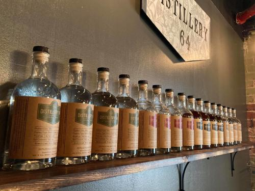 Line of bottles at Distillery 64