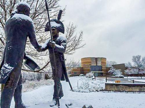 The Lewis and Clark statue covered in snow
