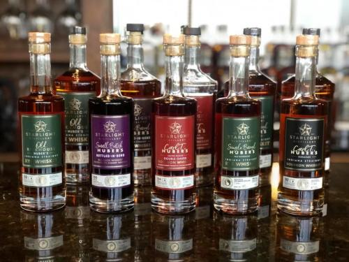 Bottles of bourbon whiskey from Starlight Distillery