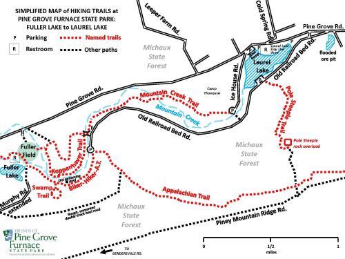 Pine Grove Furnace Hiking Map Fuller to Laurel Lake