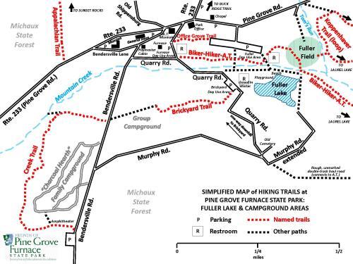 Pine Grove Furnace Hiking Map Fuller Lake Area