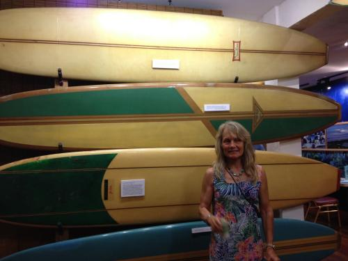 Mimi Munro with surfboards