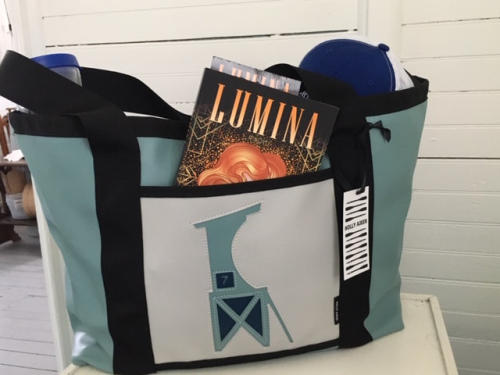 Wrightsville Beach Museum of History Gift Shop Bag, holding a book and other gifts from the gift shop.