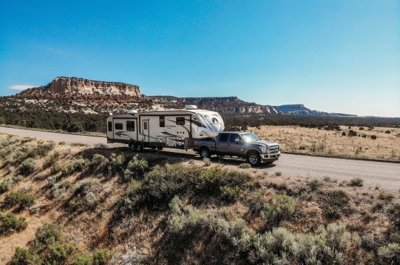 Truck pulling RV through Southern Utah