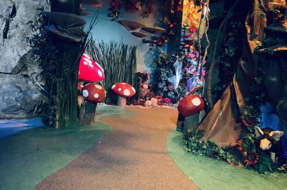 Mushroom and trees interactive installation at Dreamscaptes