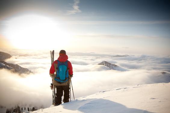 Sunrise and Skier Above Snowbird Ski Resort