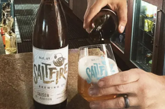 Salt Fire brewing beer being poured into a glass