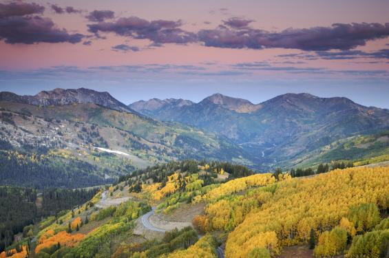Scenic view of Guardsman Pass in autumn
