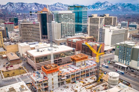 The New Salt Lake Hyatt Regency Convention Hotel being constructed