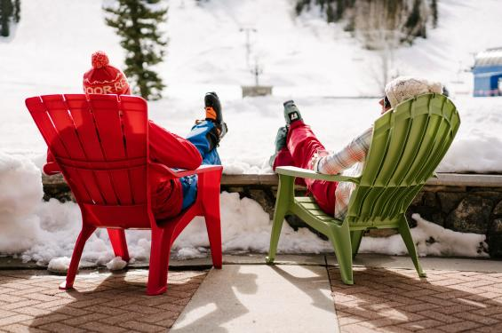 Skiers enjoying the patio at Solitude