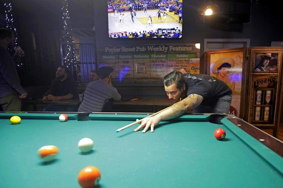 Playing Pool at Poplar Street Pub