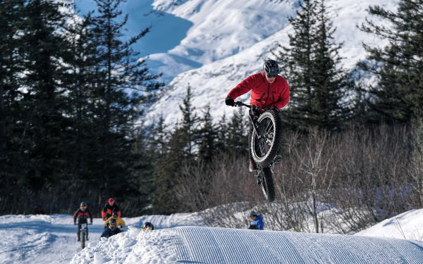 Fat Tire biker gets air time