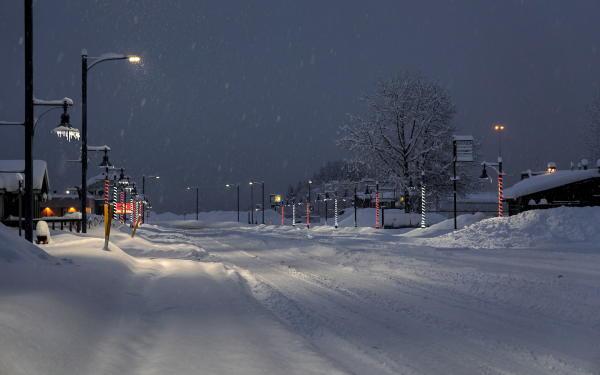 Egan Street in Valdez, Alaska during a snowstorm