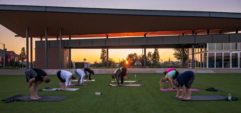 yoga in an urban park