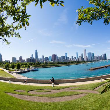 Chicago Skyline and Chicago Lakefront Trail