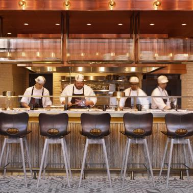 Chefs working in the kitchen at Nico Osteria in Thompson Chicago Hotel