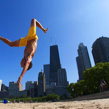 Acrobat on the beach
