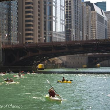 Kayaks on the Chicago River