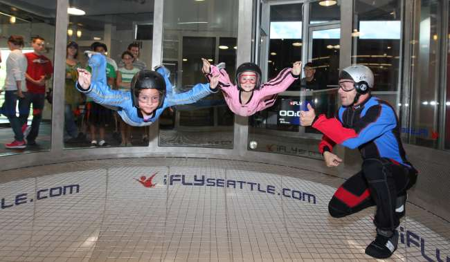 Kids Flying in the Tunnel at iFLY Indoor Skydiving in Tukwila Washington