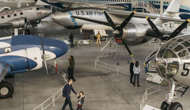 The Museum of Flight Aviation Pavilion Father and Daughter