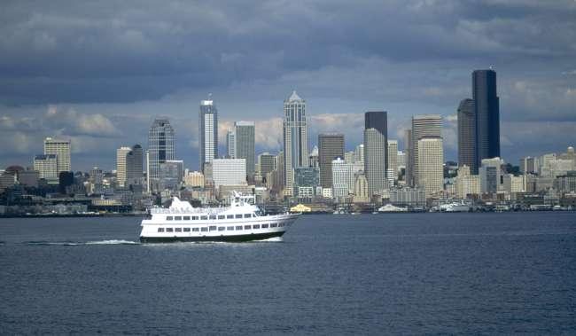Argosy Cruise Ship with Seattle Skyline.