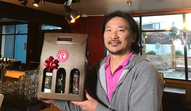 Dan Lee Founder and Owner of Odin Brewing Co. has both holiday gifts and cool viking helmet lamps at his Tukwila brewery