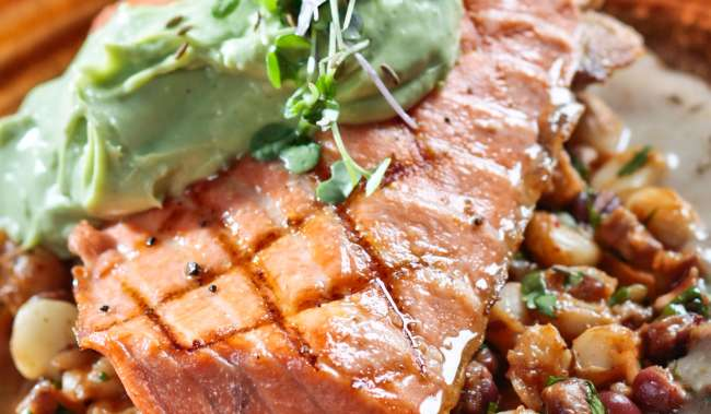 Salty's Salmon with Hominy Salad