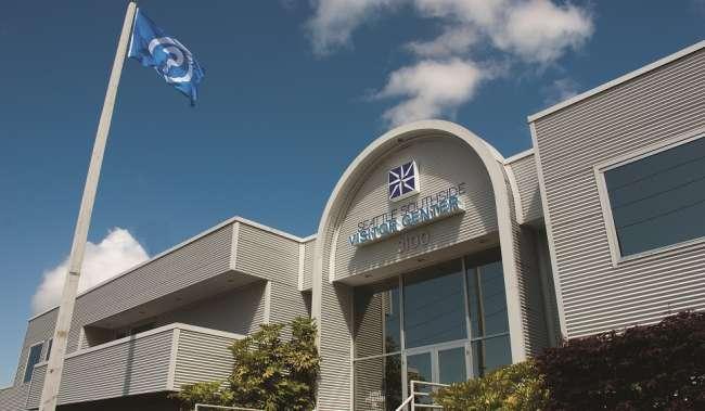 Seattle Southside Visitor Center entrance under blue sky