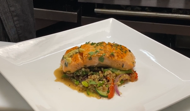 Basil's salmon filet on plate