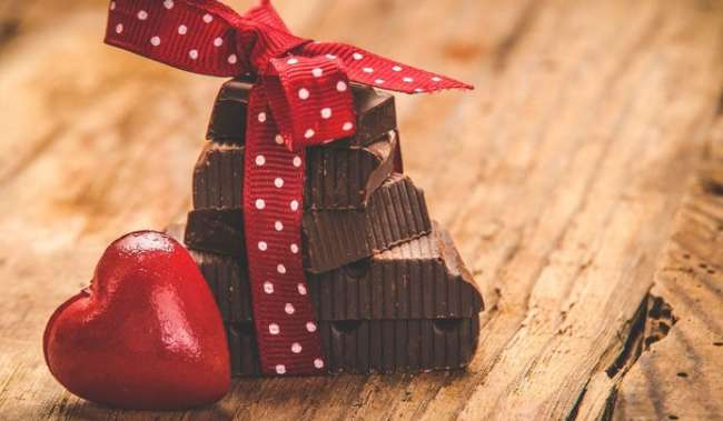 Wrapped chocolate and candy heart