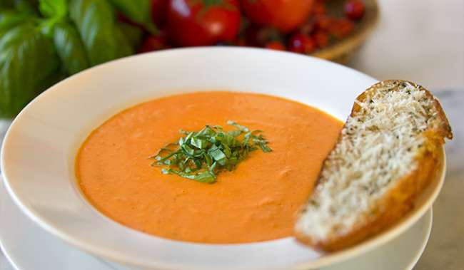 Tomato soup and bread