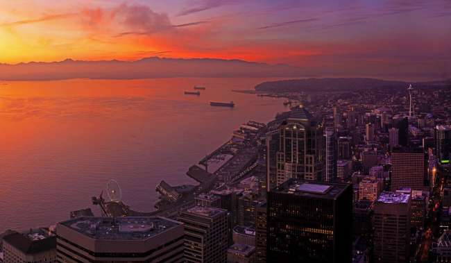 Columbia Tower Sunset over Puget Sound