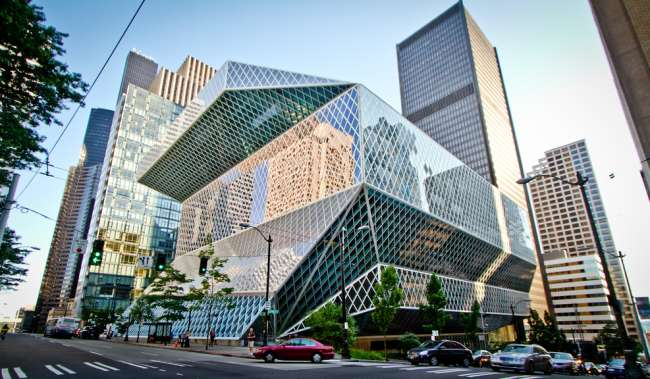 Seattle Public Library street view of building