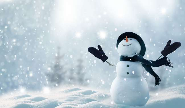 whimsical  snowman with outstretched arms graphic