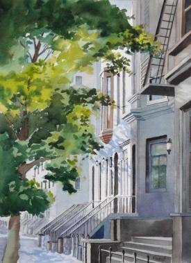 Watercolor painting called West 81st Street by Jim Beech