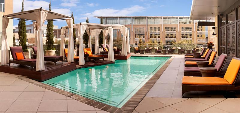The Moran Roof Top Pool in Houston offers pool-side cabanas and lounge chairs.